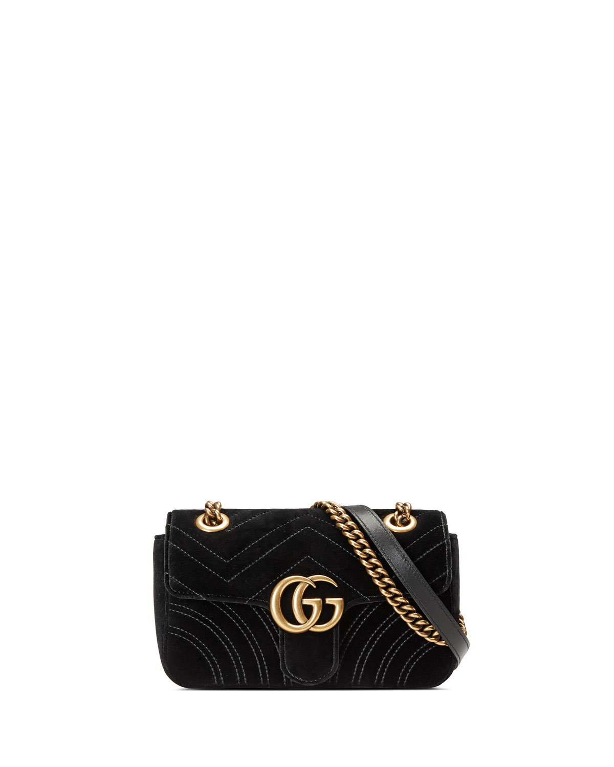 0baa19c6c Gucci GG Marmont Mini Quilted Velvet Crossbody Bag, Black | Neiman ...