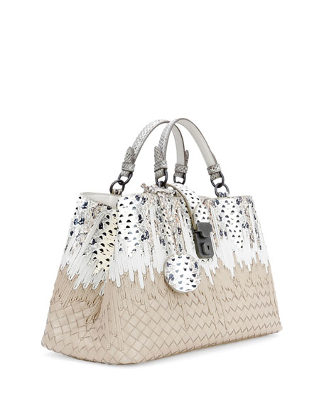 Small Flow Wave Snakeskin Tote Bag