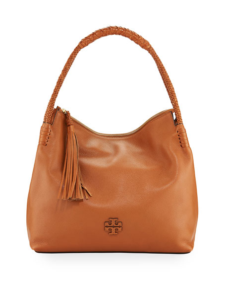 Tory Burch Taylor Pebbled Leather Zip-Top Hobo Bag | Neiman Marcus