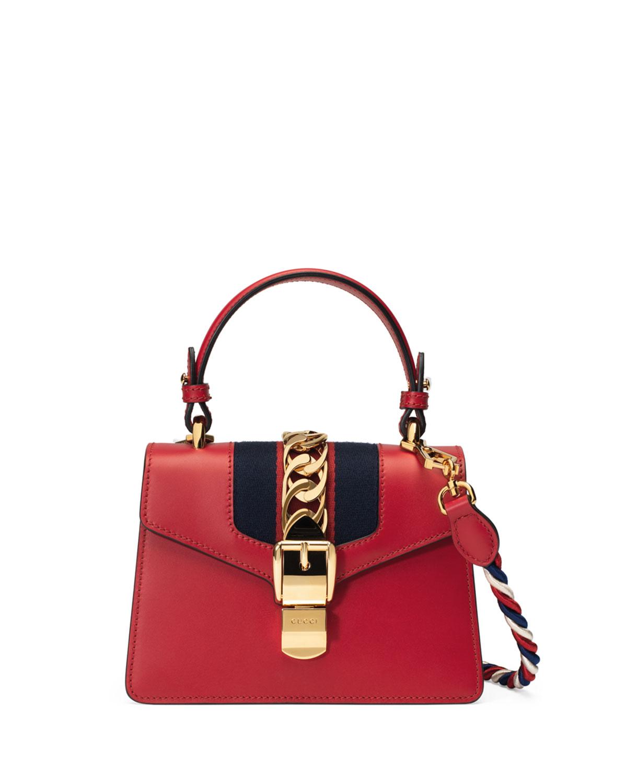 40b0ddd74bd53 Gucci Sylvie Mini Leather Satchel Bag