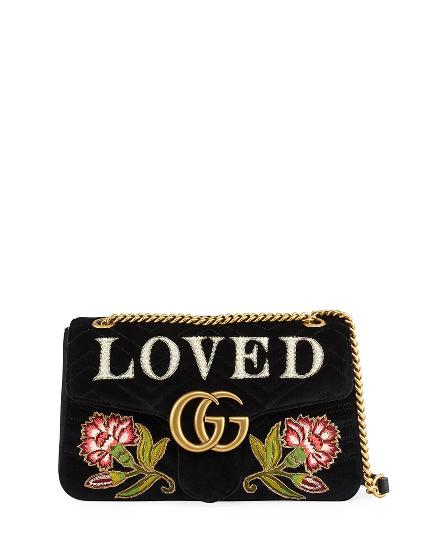 200aa544870f26 Gucci GG Marmont Medium Embroidered Velvet Shoulder Bag, Black ...