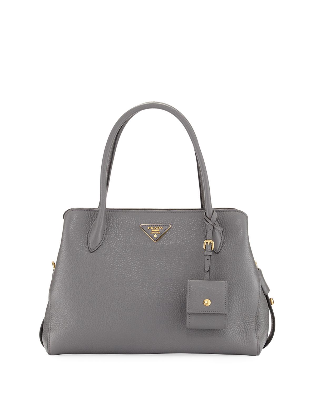 0767109f3b22f3 Prada Medium Vitello Daino Top-Handle Bag   Neiman Marcus