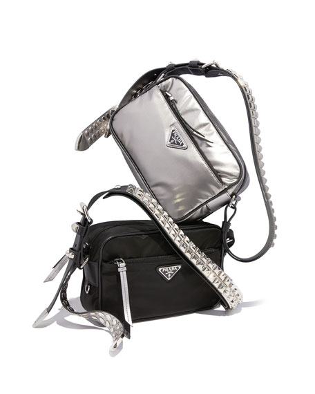 Image 2 of 4: Prada Black Nylon Shoulder Bag with Studding