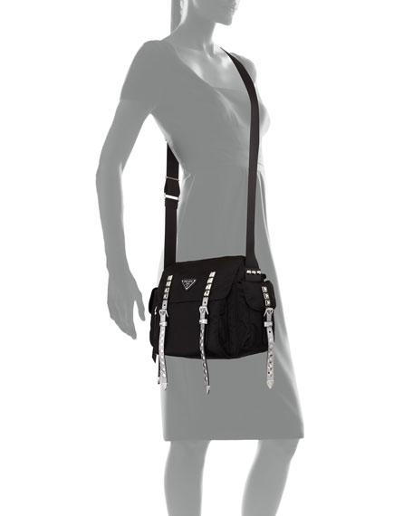 Prada Prada Black Nylon Messenger Bag with Studding