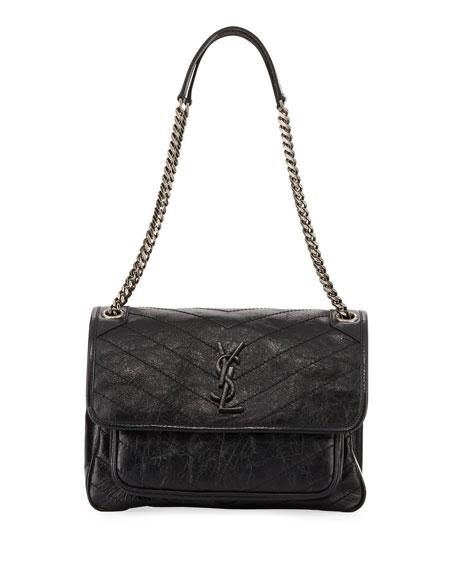 Niki Medium Monogram YSL Shiny Waxy Quilted Shoulder Bag