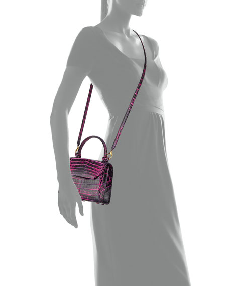 Image 3 of 3: Nancy Gonzalez Crocodile Small Flap Top-Handle Crossbody Bag