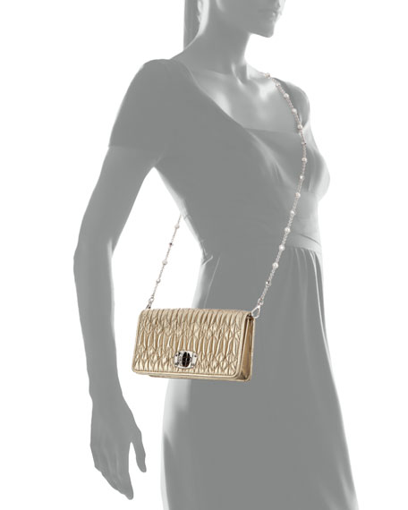 Image 4 of 4: Miu Miu Napa Leather Wallet on a Crossbody Chain with Crystal Clasp