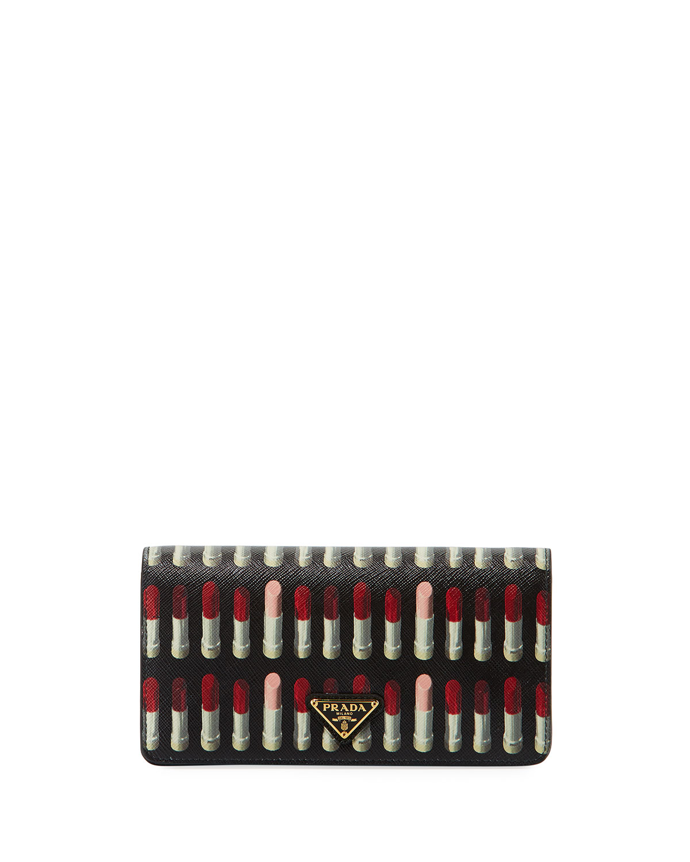 f4659de8d52ff3 Prada Lipstick-Print Saffiano Crossbody Wallet/Tech Case Bag ...