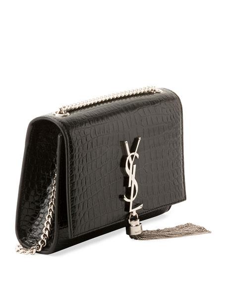 Saint Laurent Kate Monogram YSL Small Tassel Croco Shoulder Bag