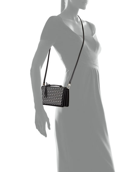 ALAIA Franca Small Petal Cutout Crossbody Bag with Handle