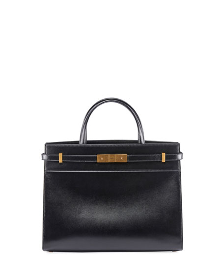 Saint Laurent Manhattan Small Leather Shoulder Tote Bag