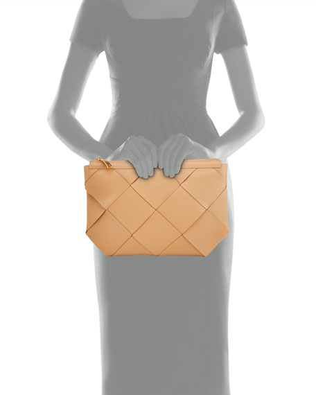 Image 4 of 4: Bottega Veneta Maxi Blown-Up Intrecciato Leather Pouch Bag