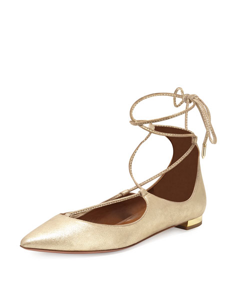 Christy Lace-Up Pointed-Toe Flat, Light Gold