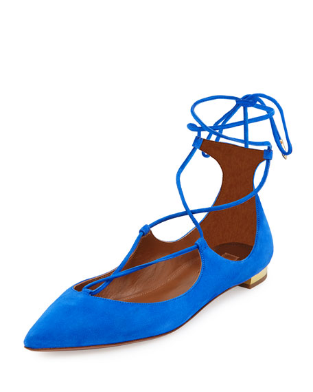 Christy Lace-Up Pointed-Toe Flat, Mondrian Blue