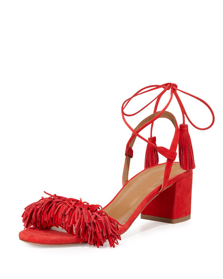 Aquazzura Wild Thing Suede 50mm City Sandal, Lipstick