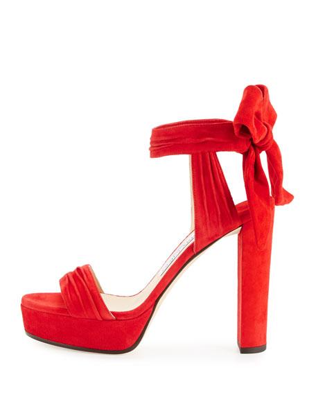 Kaytrin Suede 120mm Platform Sandal, Red