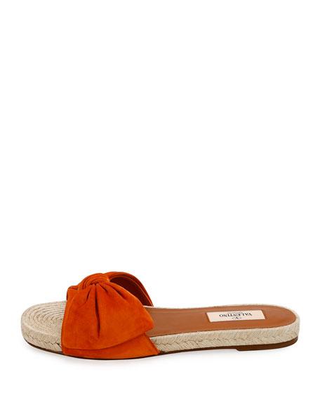 Tropical Bow Espadrille Slide Sandal