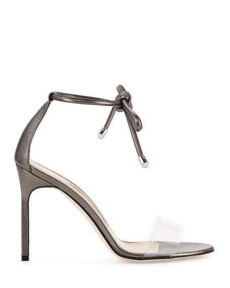 Estro Leather & PVC Ankle-Wrap Sandals