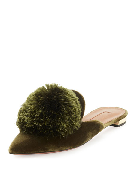 Powder Puff Pompom Mule Flat, Moss Green