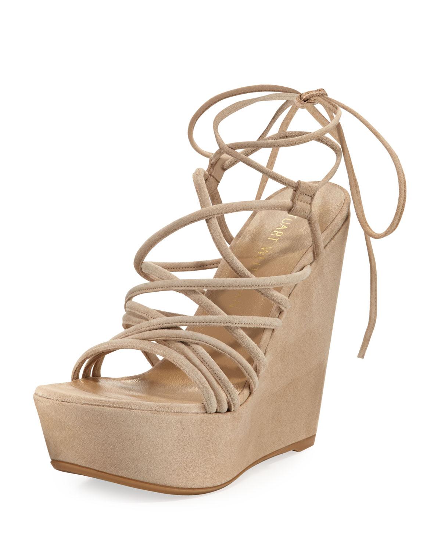 55b234bcf605 Stuart Weitzman Histrung Suede Lace-Up Wedge Sandals