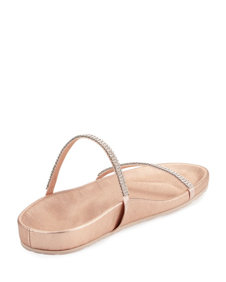 Amanda Crystal Flat Slide Sandals