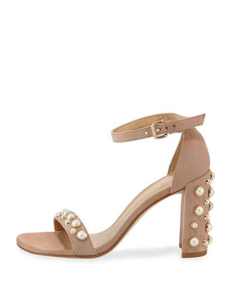 Morepearls Suede Block-Heel Sandal