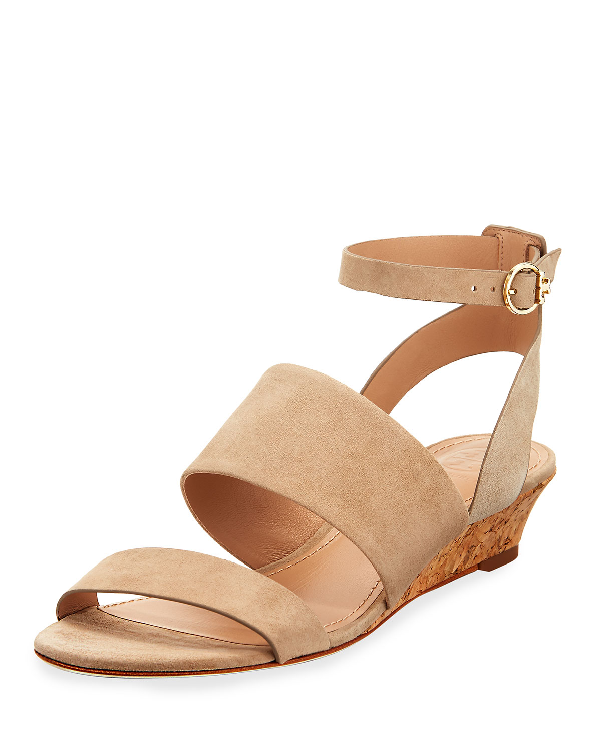 7c6a0456ead Tory Burch North Suede Low-Wedge Sandal