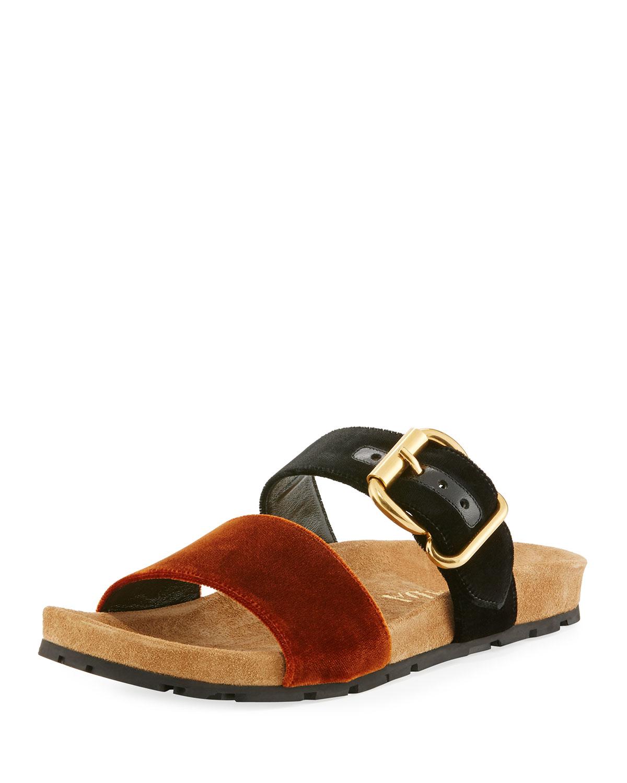 f00220e709286e Prada Double-Strap Flat Velvet Slide Sandal | Neiman Marcus