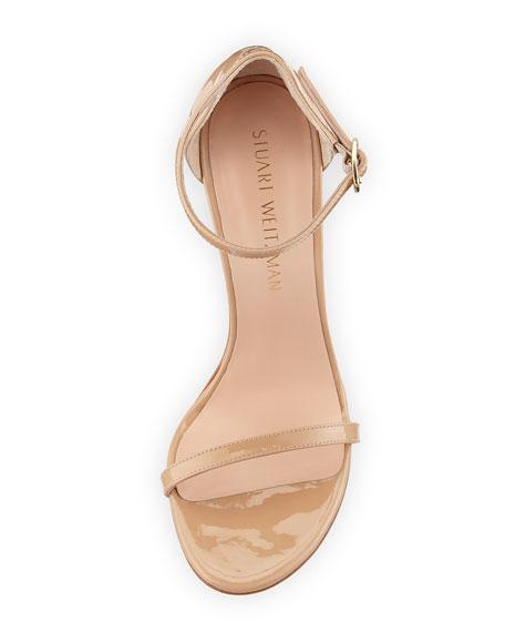 Stuart Weitzman Nudistsong Patent Ankle-Wrap Sandals