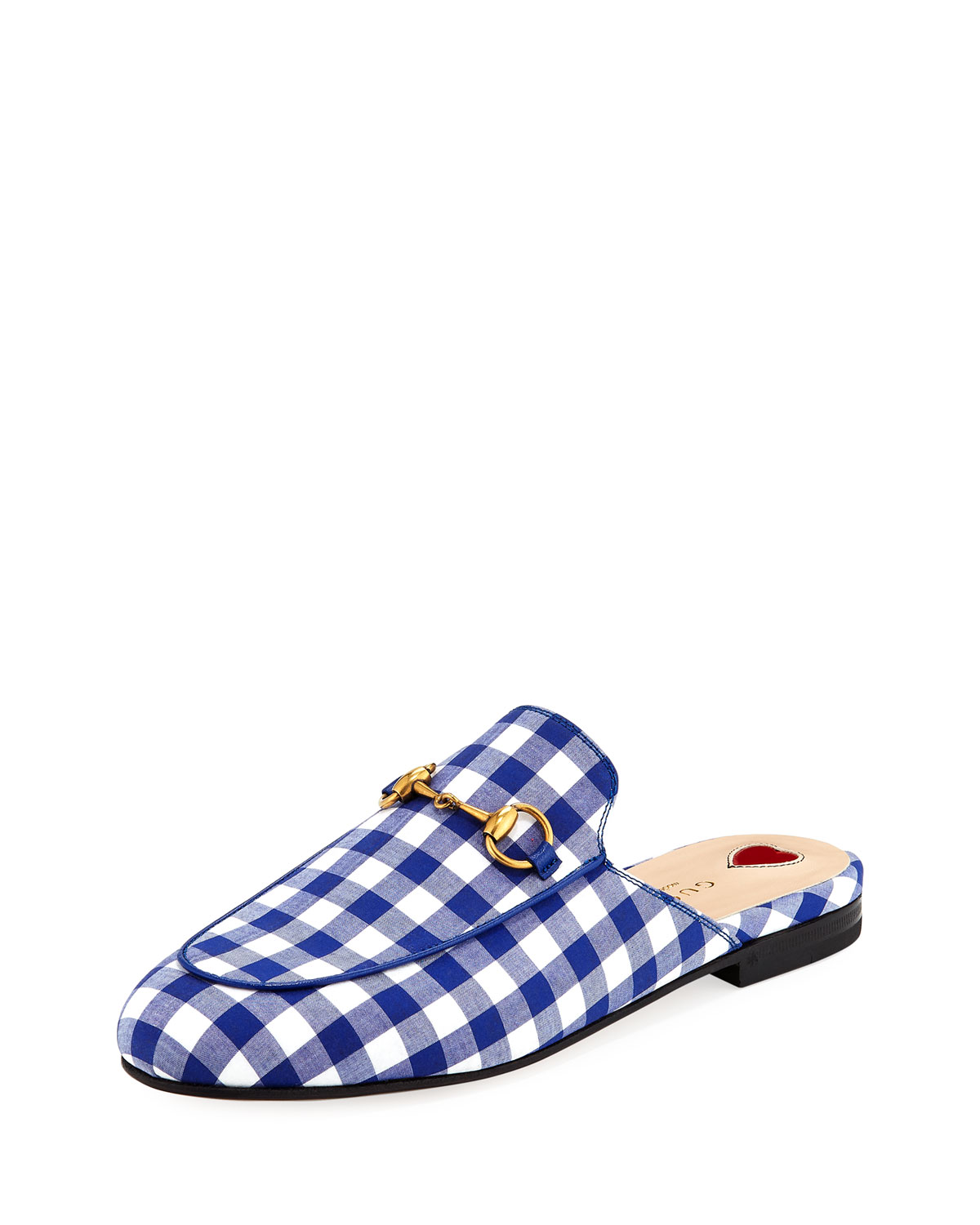 ab0528432 Gucci Flat Princetown Gingham Mule | Neiman Marcus