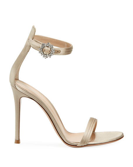Gianvito Rossi Pleated Satin Embellished 105mm Sandals