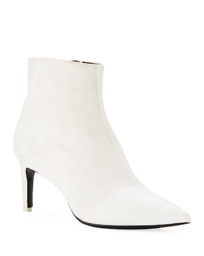 Beha Mixed Leather & Suede Zip Boots  White