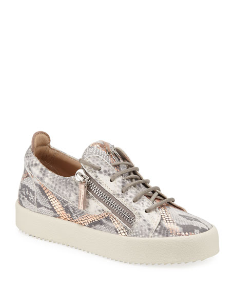 Image 1 of 3: Embossed Leather Low-Top Sneakers