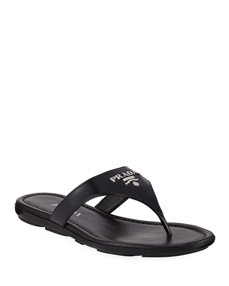 Prada Patent Logo Thong Sandals