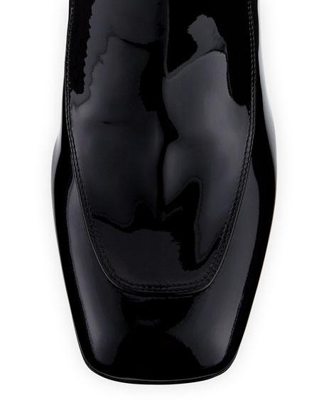 Miu Miu Patent Leather Block-Heel Ankle Boots