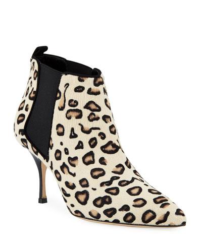 Dildi 70mm Leopard-Print Fur Booties