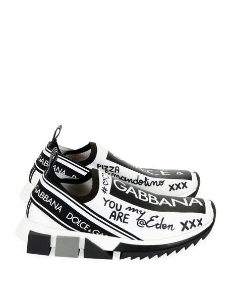Dolce & Gabbana Sorrento Graffiti Knit Trainer Sneakers