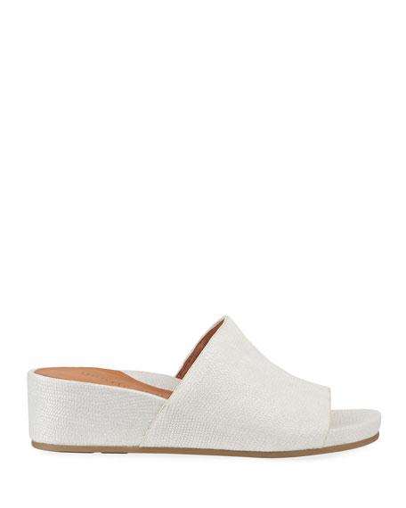 Gentle Souls Gisele Embossed Leather Demi-Wedge Slide Sandals
