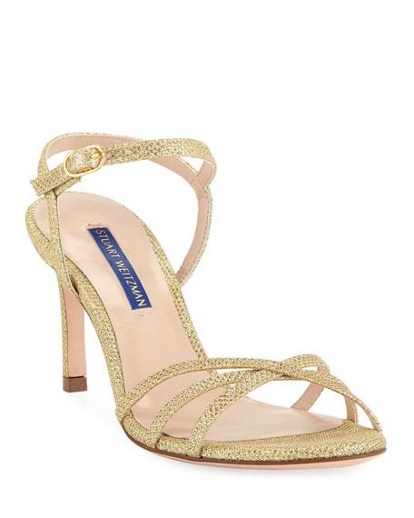 Stuart Weitzman Starla Metallic Fabric Sandals Neiman Marcus