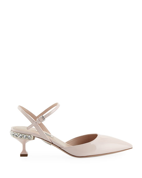 Miu Miu Patent Leather Jeweled Ankle-Strap Pumps
