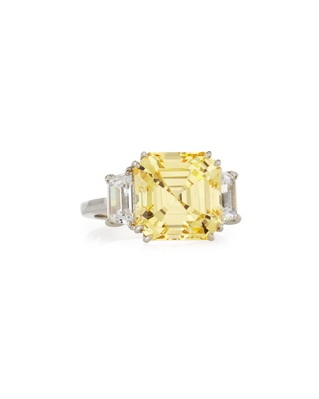Fantasia by DeSerio Canary Asscher Cubic Zirconia Ring, 13.00 TCW