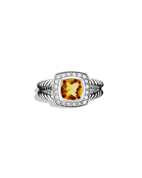 Petite Albion Ring with Citrine and Diamonds