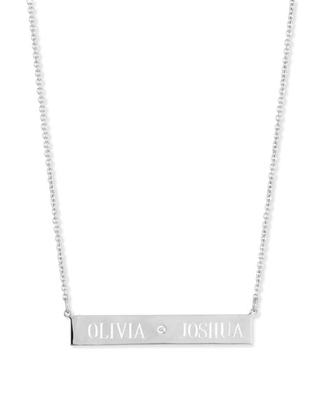 Image 4 of 4: Sarah Chloe Leigh Engraved Bar Pendant Necklace with Diamond