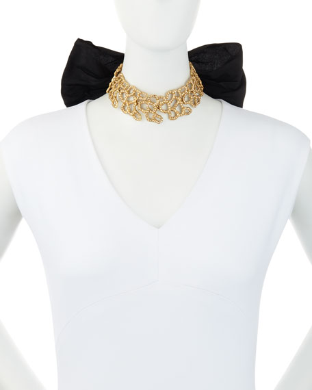 Textured Golden Choker Necklace with Grosgrain Bow