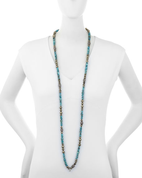Eleanor Long Turquoise & Pyrite Necklace