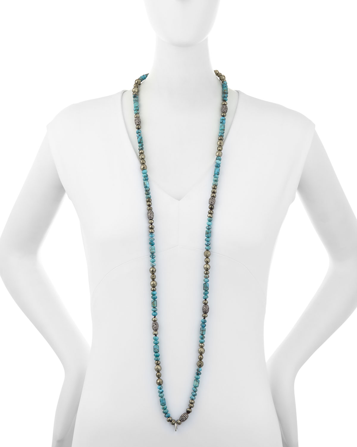 Hipchik Eleanor Long Turquoise & Pyrite Necklace CLbv6dB