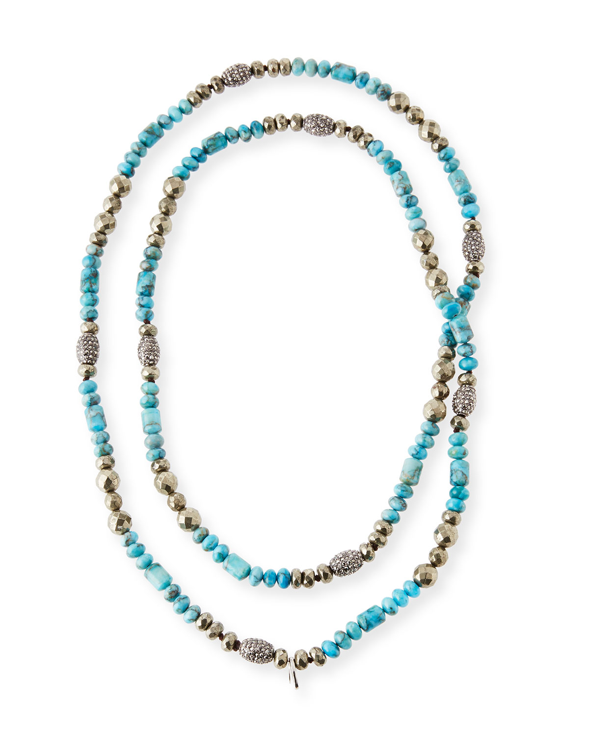 Hipchik Eleanor Long Turquoise & Pyrite Necklace jqpbLfMb