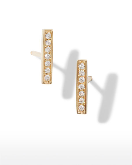 Small 14k Gold Diamond Bar Single Stud Earring