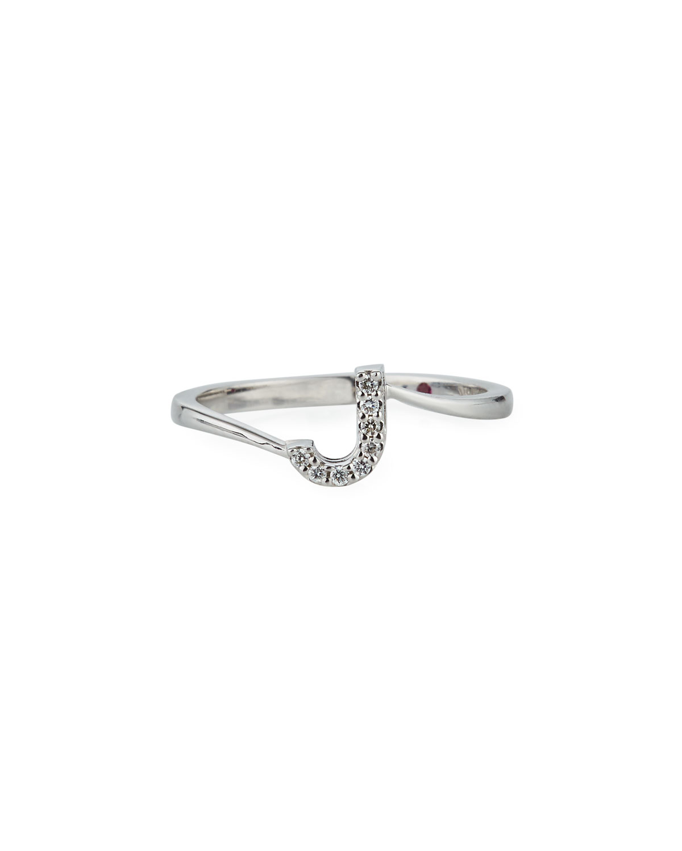 c617f8f5244f3d Roberto Coin Diamond Letter Ring in 18K White Gold | Neiman Marcus