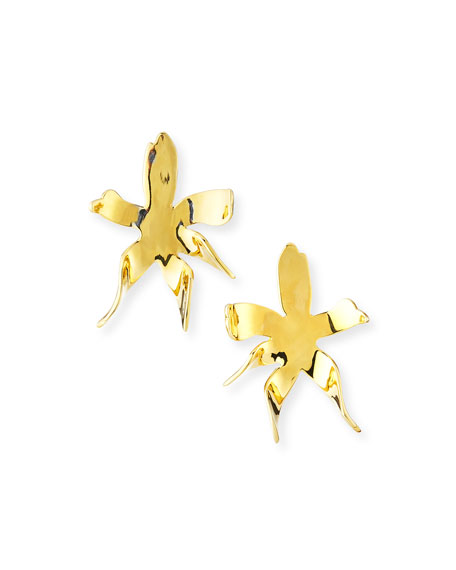 Lele Sadoughi Water Lily Button Earrings, Gold